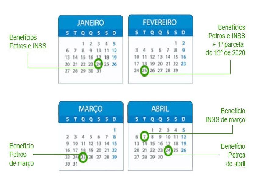 calendário INSS